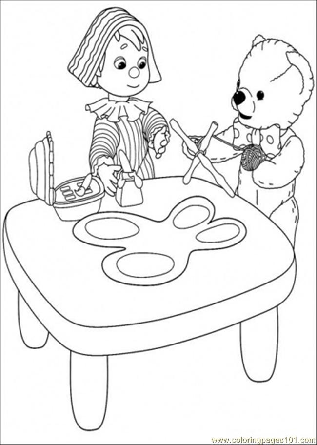 The Bear And That Boyl Are Making Their Toys Coloring Page