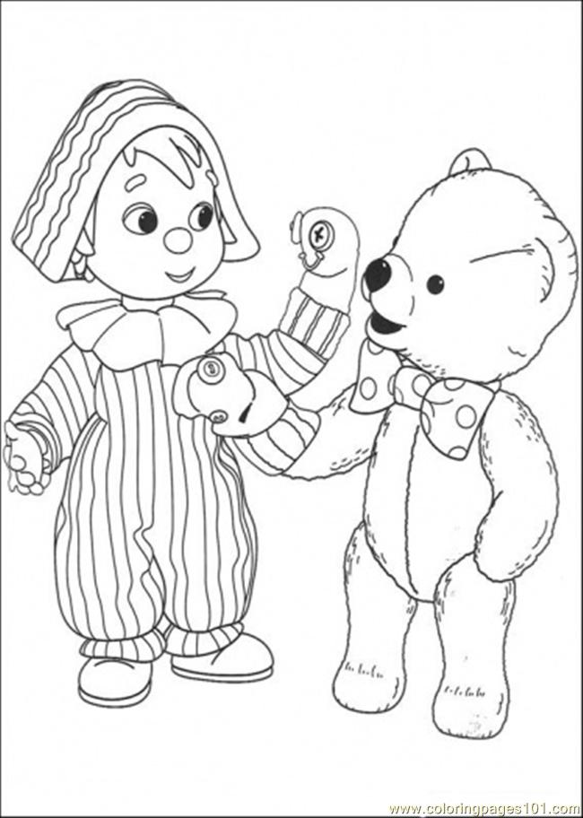 The Child And Bear Are Playing Together Coloring Page