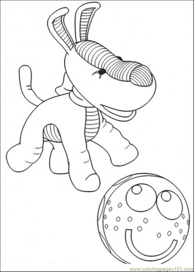 The Dog Is Playing With Ball Coloring Page