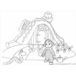 The Child Is Watering Her Garden Free Coloring Page for Kids