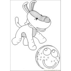 The Dog Is Playing With Ball Free Coloring Page for Kids