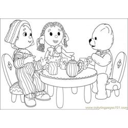 The Girl Boy And Bear Are Having Tea Time Together Free Coloring Page for Kids