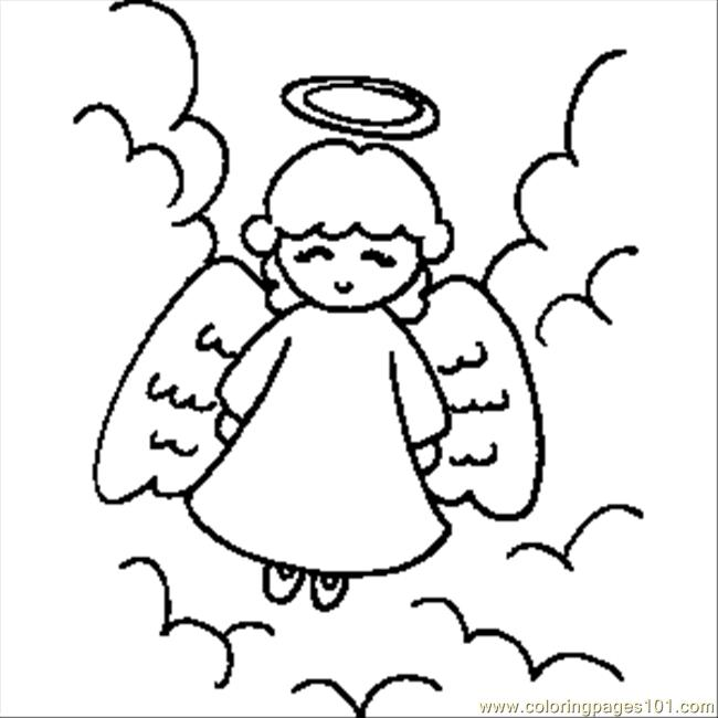 Angel With Halo Coloring Page Free Angel Coloring Pages