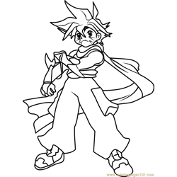 Kai Hiwatari Beyblade Free Coloring Page for Kids