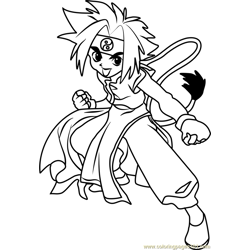 Ray Kon Beyblade Free Coloring Page for Kids