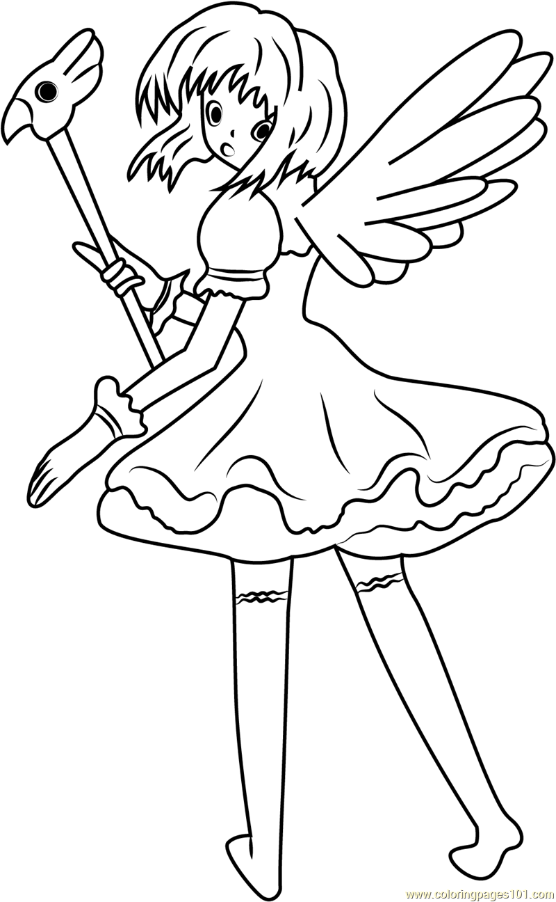 Cardcaptors Sakura Looking Back Coloring Page
