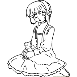 Cardcaptor Sakura Sitting Free Coloring Page for Kids