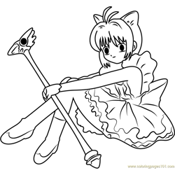 Cardcaptor Sakura Free Coloring Page for Kids