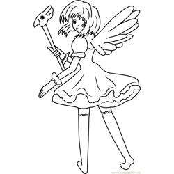 Cardcaptors Sakura Looking Back Free Coloring Page for Kids
