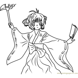 Cardcaptors Sakura with Cards Free Coloring Page for Kids