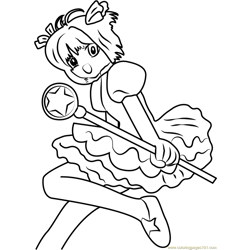 Jumping Cardcaptor Sakura Free Coloring Page for Kids