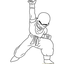 Krillin Free Coloring Page for Kids