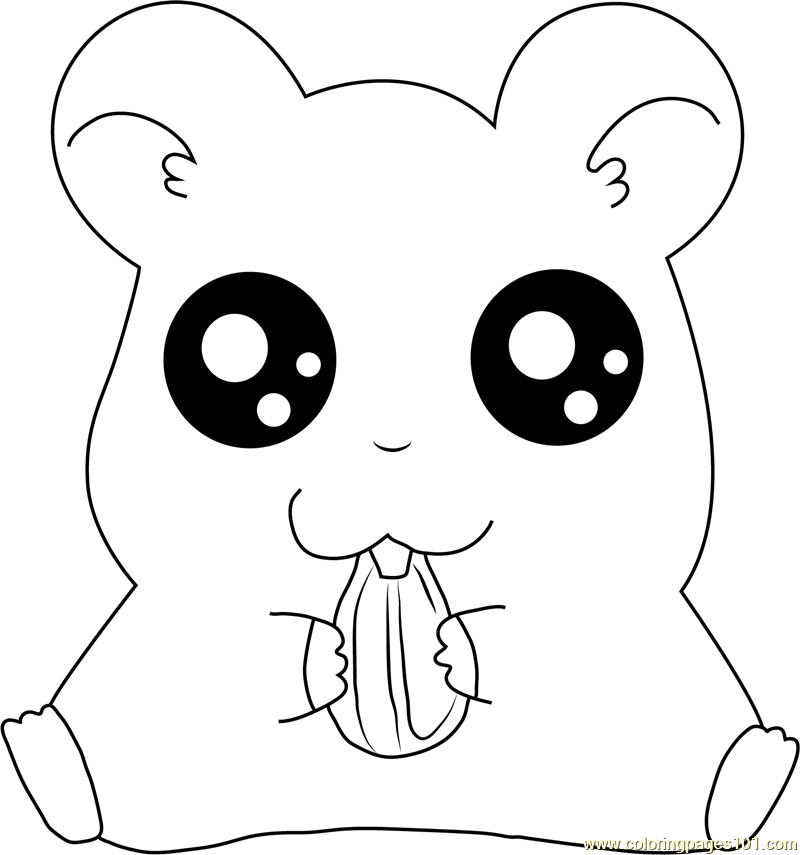 Hamtaro Eating Coloring Page