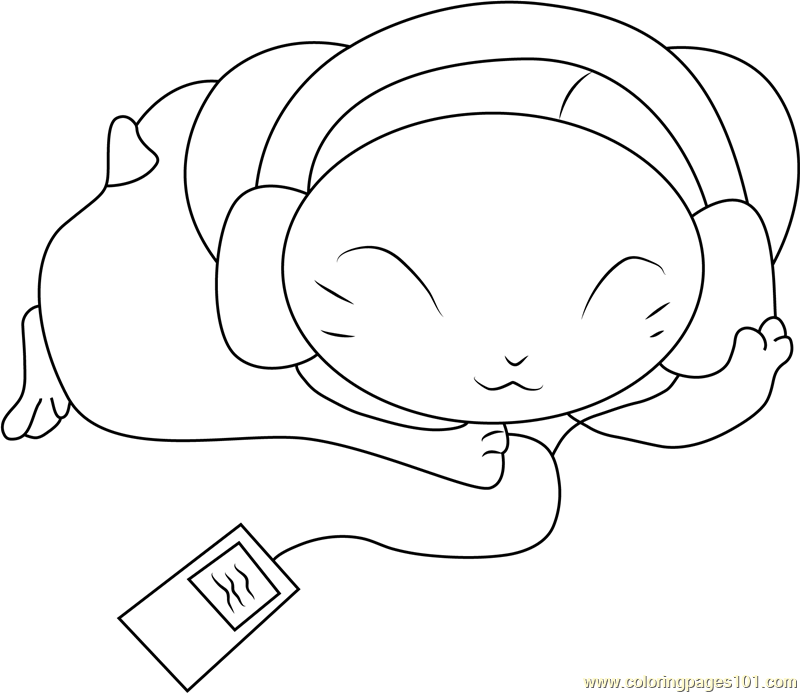 Hamtaro Listening Music Coloring Page