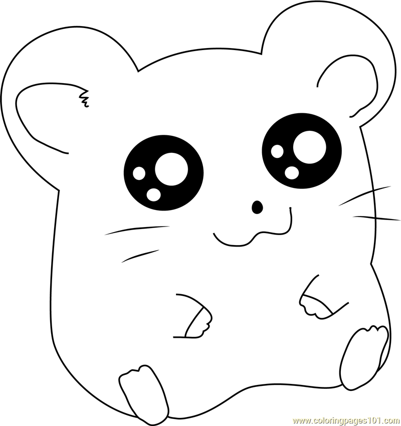 Hamtaro Sitting Coloring Page