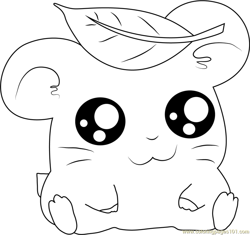 Hamtaro having Leaves on Head Coloring Page