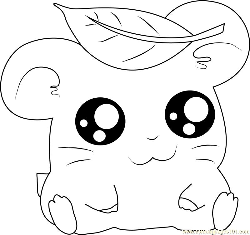 Hamtaro having Leaves on Head Coloring Page Free Hamtaro Coloring