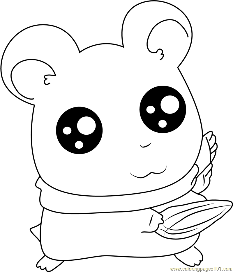 Coloring Pages Of Animals With Big Eyes : Look into my big eye coloring page free hamtaro