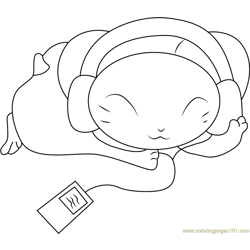 Hamtaro Listening Music Free Coloring Page for Kids