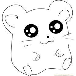 Hamtaro Sitting Free Coloring Page for Kids