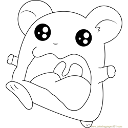 Hamtaro Walking Free Coloring Page for Kids