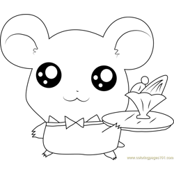 Hamtaro Free Coloring Page for Kids