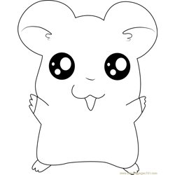 Hamtaro say Hi Free Coloring Page for Kids