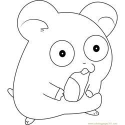 Hamtaro the Hamster Free Coloring Page for Kids