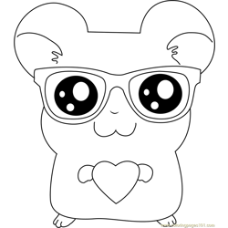 Hamtaro wear Sunglasses Free Coloring Page for Kids