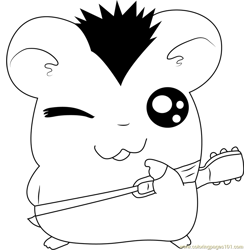 Hamtaro with Guitar Free Coloring Page for Kids