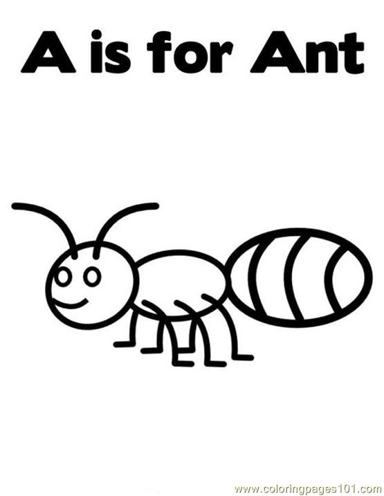 A is for ant Coloring Page Free Ants Coloring Pages