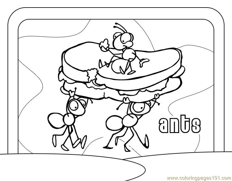 Ant Taking Bread Coloring Page