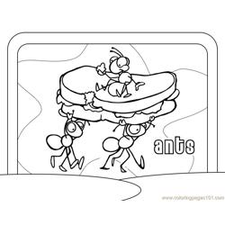 Ant taking bread Free Coloring Page for Kids