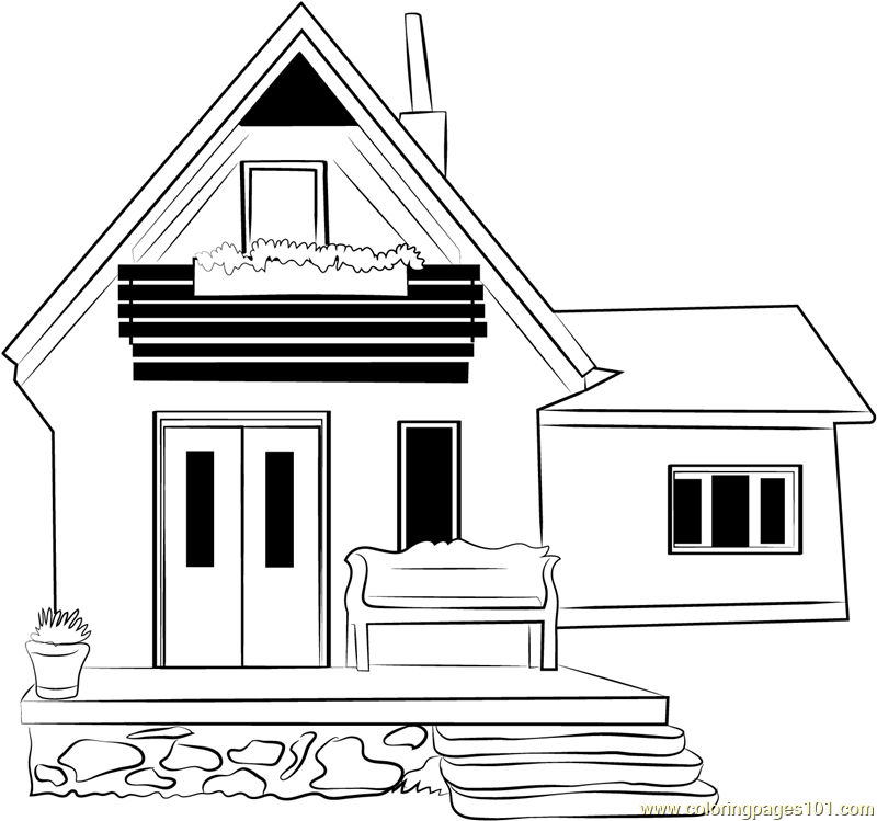Beautiful Cottage Coloring Page