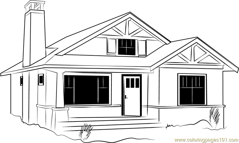 Bedroom Cabin Cottage Coloring Page
