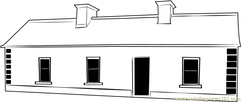 Cottage House Coloring Page