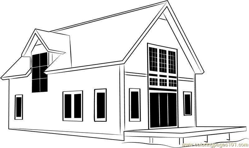 Cottages 2 Coloring Page