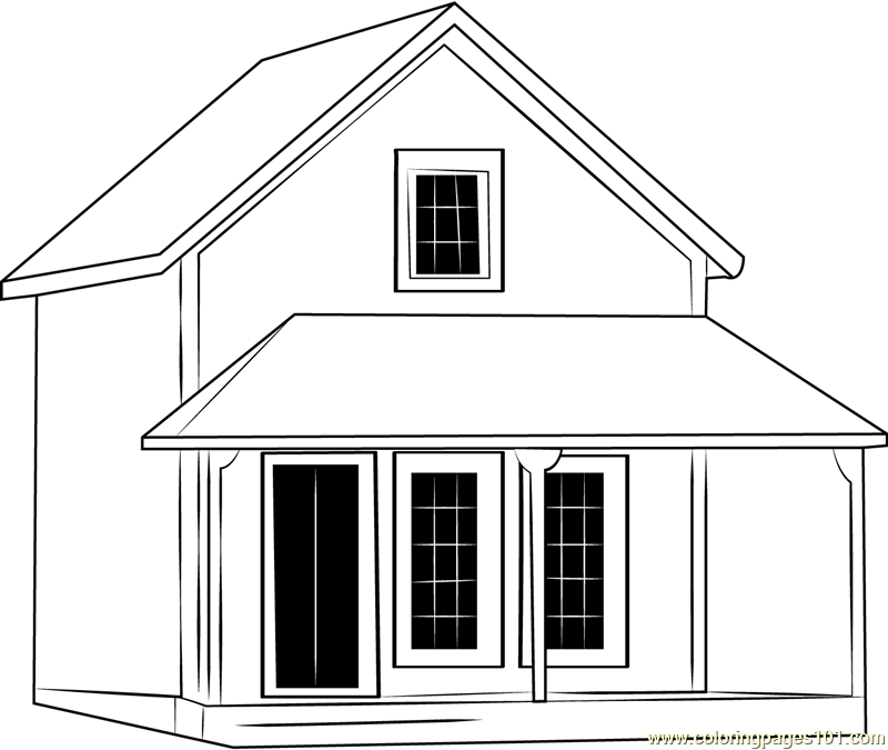 Cute Cottages Coloring Page