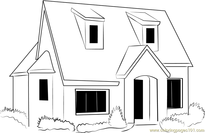 English Country Cottage Coloring Page Free Cottage