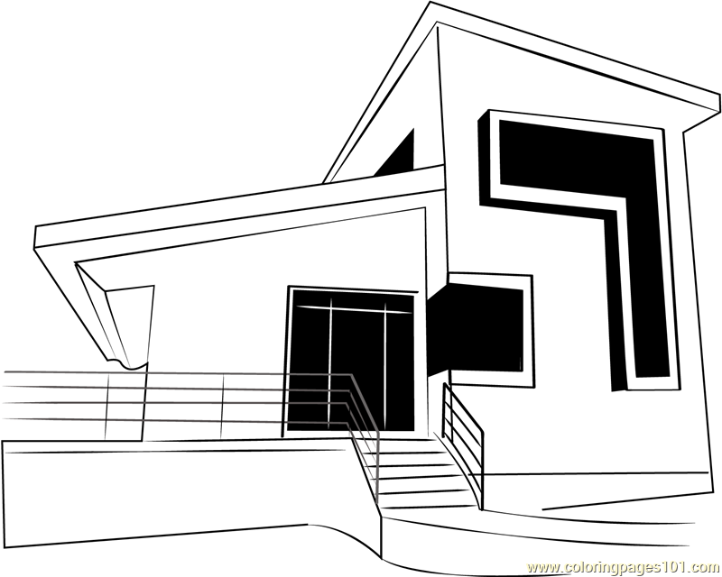 Modern Cottage Coloring Page Free Cottage Coloring Pages
