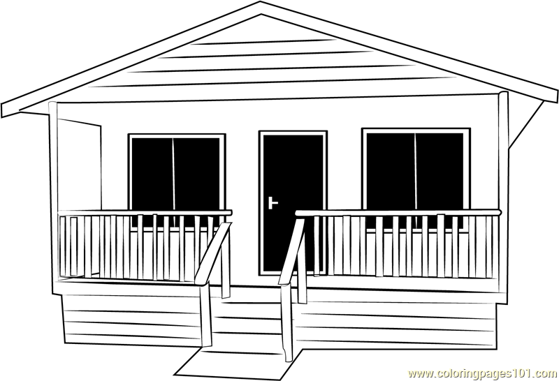 Small Cabin Cottage Coloring Page