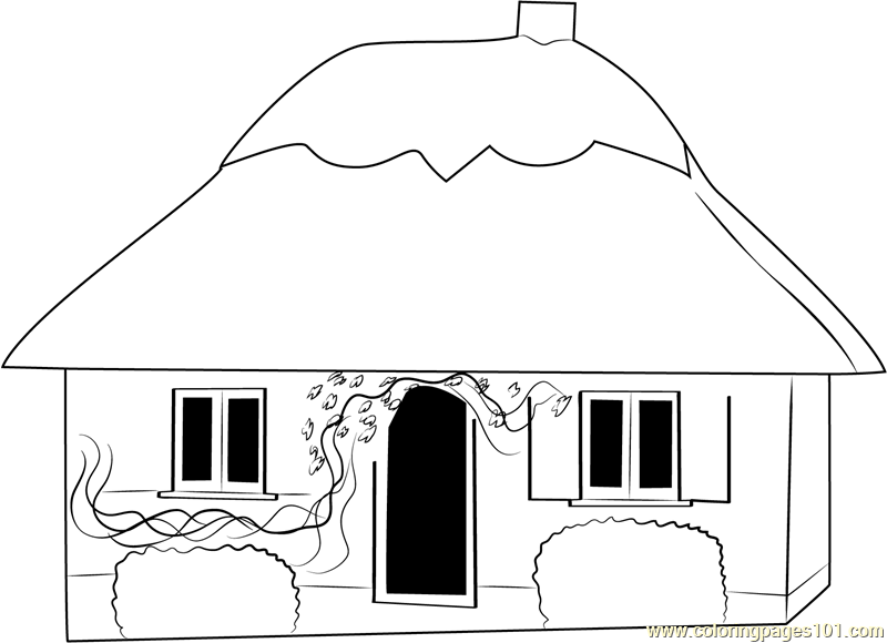 Small Cottage House Coloring Page