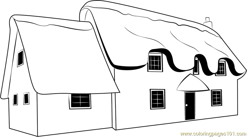 Snow Cottages Coloring Page