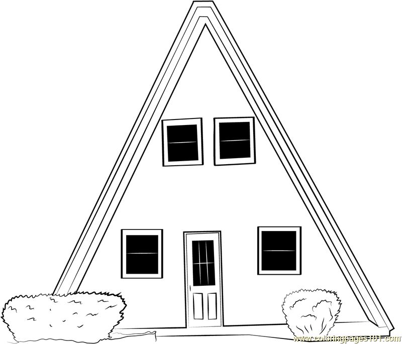 Unique Small Cabin Cottage Coloring Page