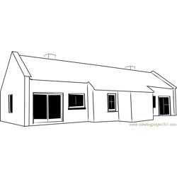 Cottages Rear Large Free Coloring Page for Kids