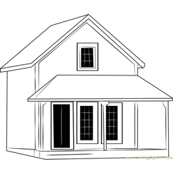 Cute Cottages Free Coloring Page for Kids