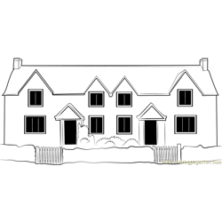 Double Cottage Free Coloring Page for Kids