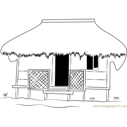 Eco Cottages Free Coloring Page for Kids