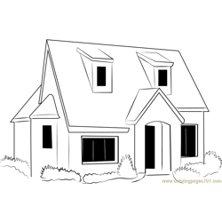 English Country Cottage Free Coloring Page for Kids