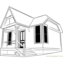 Little Cottage Free Coloring Page for Kids